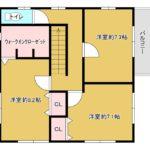 2階、現況は東側2部屋の間仕切りはありません。図のように間仕切りを設置すれば4LDKとして利用可!