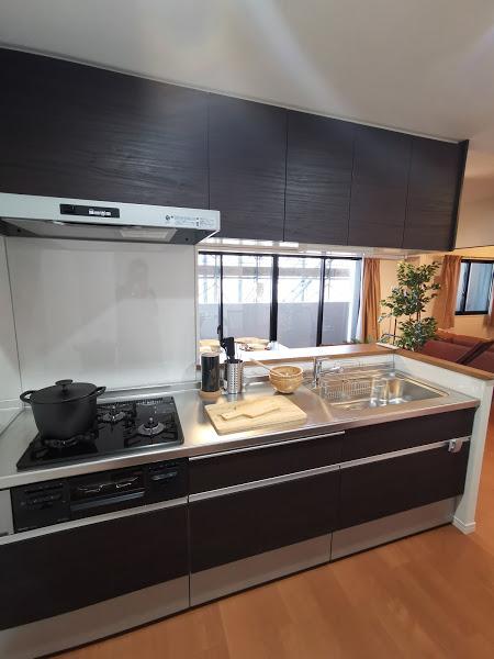 カラーは3タイプ、こちらは、重厚感あるダーク系住戸のシステムキッチン!
