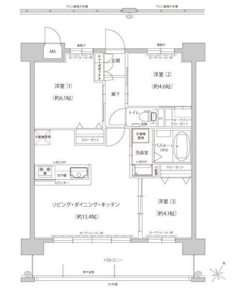 Bタイプ60.40㎡、2430万円~。3タイプご用意しております。詳細はお問合せ下さい。(間取)